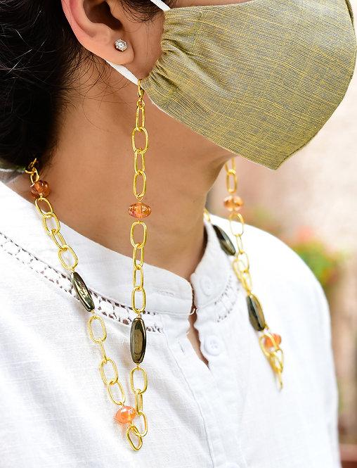 DAPPER Amber Melon & Metallic Beads - Necklace/Mask chain/ Eyeglass Chain