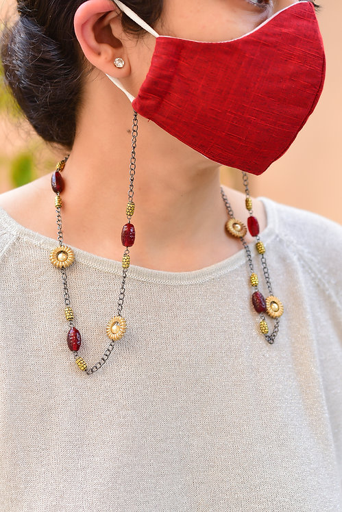 CLAYPOT Necklace/ Mask/Eyeglass Chain with  Red Wine Beads & Gold Accents