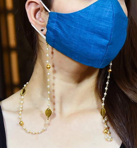 LEAF WIRE Mask/Eyeglass Chain with  Pearls & Brush Gold Balls