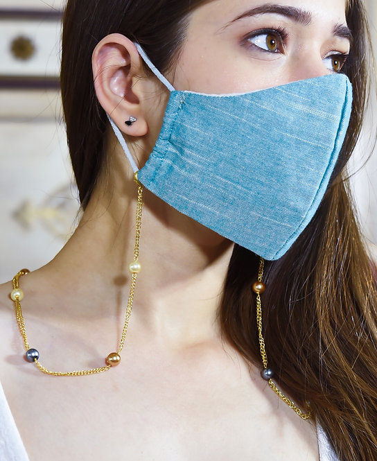 8 mm Multi-Pearl GOLD Necklace/Mask/Eyeglass Double Chain