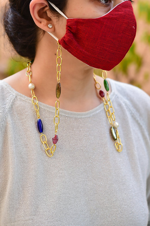 COUTURE Multi-Color Mask/Eyeglass Chain Gold
