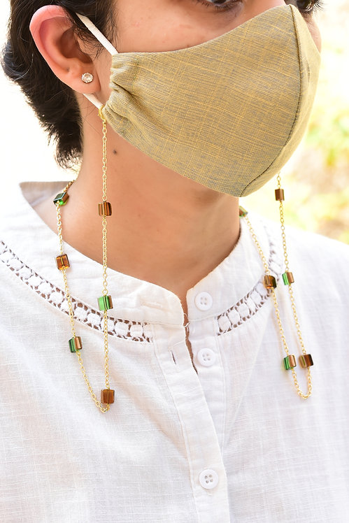 CHIC Mask/Eyeglass Chain with Brown & Green Sheen Beads