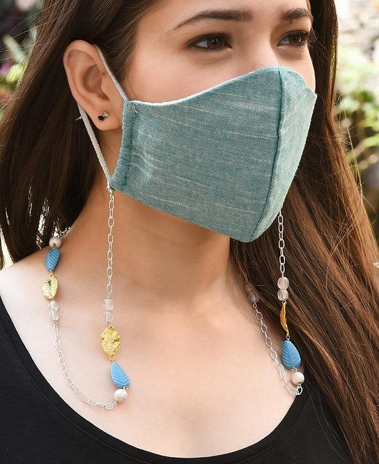 MELANGE Turquoise Leaf Necklace/ Mask/ Eyeglass Chain