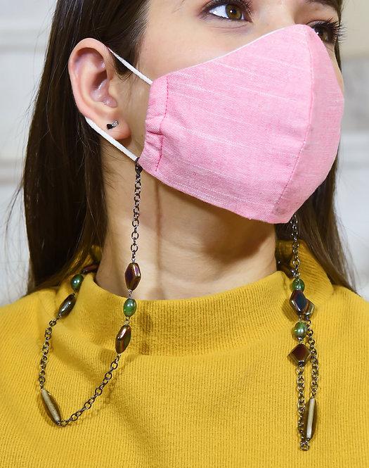 HEXA Mask/Eyeglass Chain with Rainbow Metallic & Green beads