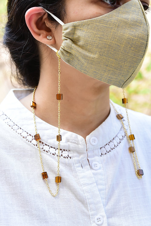 CHIC Brown Sheen Beads Necklace/ Mask Chain/Eyeglass Chain