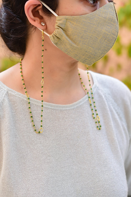 TWIST WIRE Mask/Eyeglass Chain with Green Beads