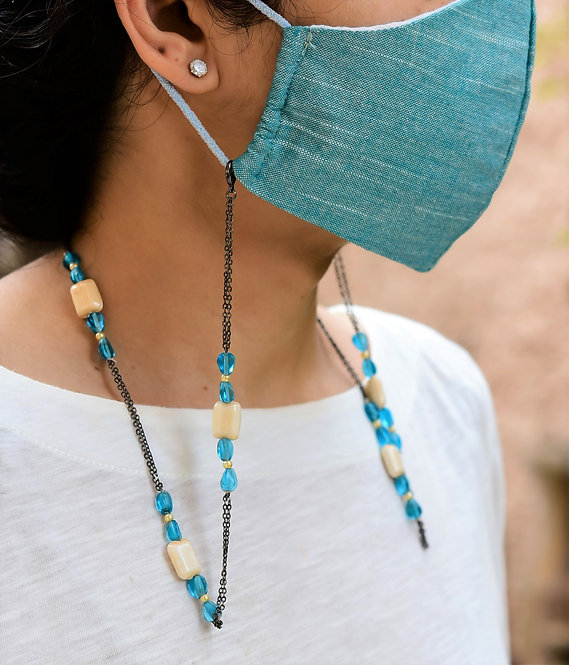 PILLOW Mask/Eyeglass Chain with Aqua Beads in Black tone chain