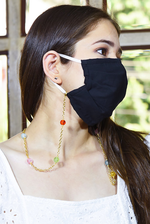 Multi-color CRACKLE Mask/Eyeglass Chain with pearl accents