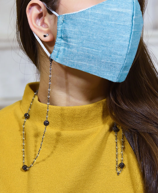 PAVE Black Necklace/Mask/Eyeglass Chain with White Crystal