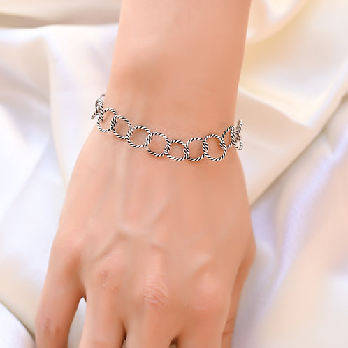 TWIST  Chain Antique Silver  Bracelet
