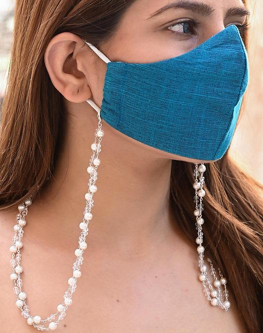 HEERA MOTI DUO White Pearl Necklace/Mask Chain/Eyeglass Chain -2 Line