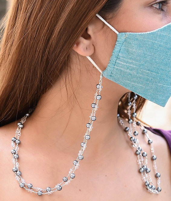 HEERA MOTI DUO  Black Pearl Necklace/Mask Chain/Eyeglass Chain -2 Line