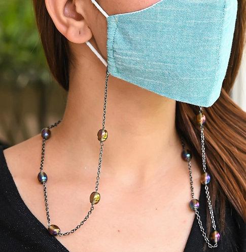 Black Rainbow Lustre Necklace/Mask Chain/Eyeglass Chain