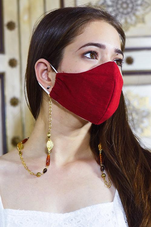 MELANGE Brown Leaf Necklace/ Mask/Eyeglass Chain