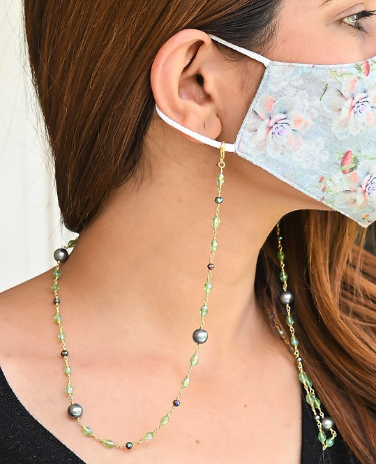 FASHIONISTA Black Pearl, Green Crystals Necklace/Mask Chain/Eyeglass Chain