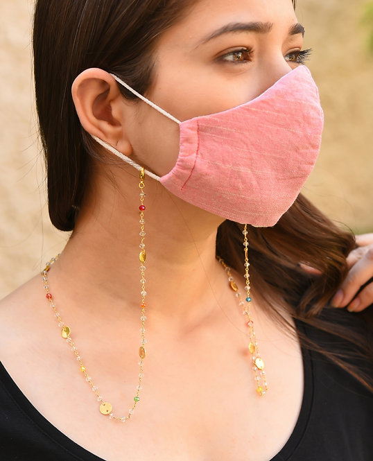 DISC Necklace/Mask/Eyeglass Chain with Multi-Crystal Beads