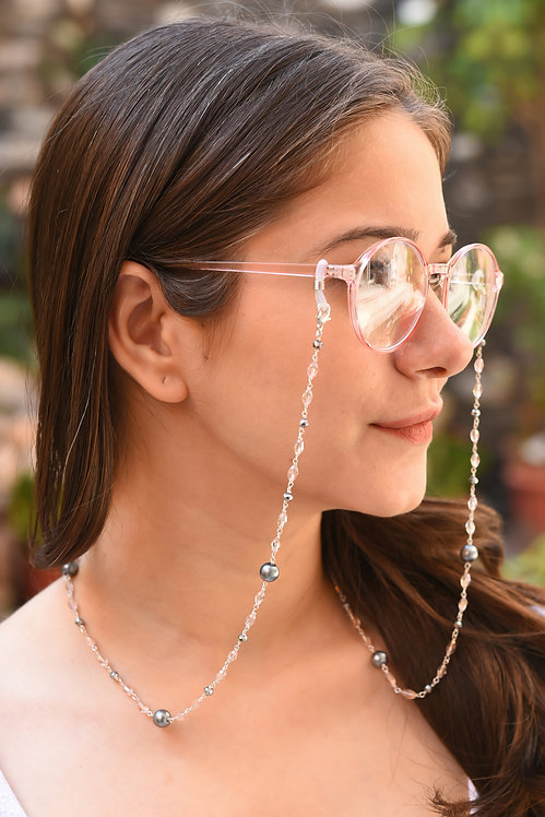 FASHIONISTA Black Pearl, Pink Crystals Necklace/Mask/Eyeglass Chain