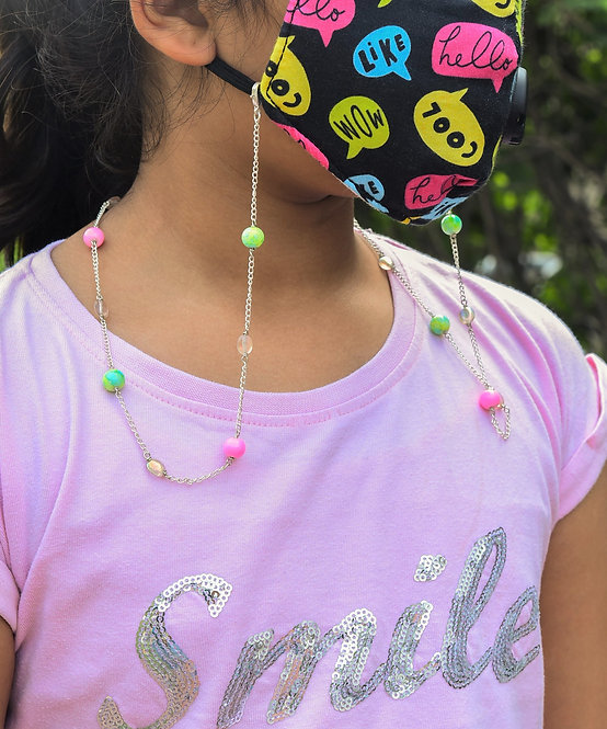 Kids Necklace/Mask/Eyeglass Chain with Pink & Lime Green Beads