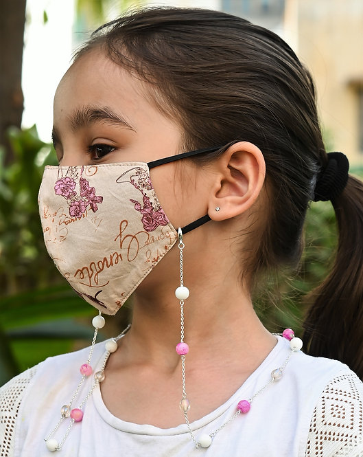 PINKIE , White Beads Necklace/Mask Chain/Eyeglass Chain -KIDS