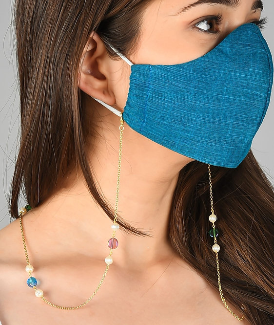 FLUTE Pearl w/Multi-Color Beads Mask/Eyeglass Chain