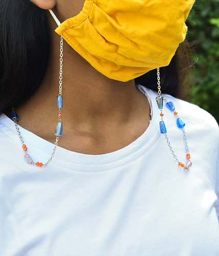 Kids Necklace/Mask Chain with Lustre Blue, Peach and Orange Crystal Beads