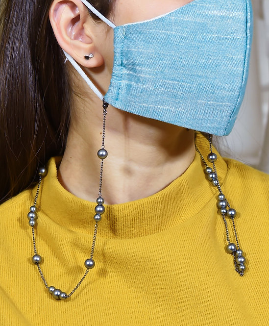 TRIO Black Pearls Necklace/Mask Chain