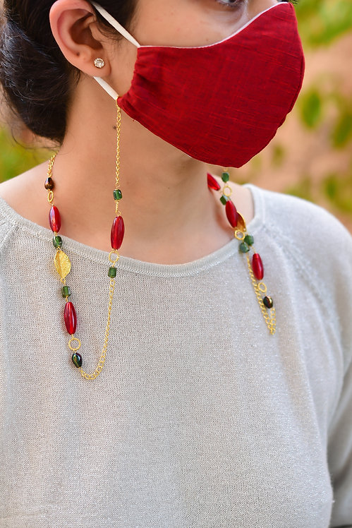 FESTIVE Mask/eyeglass Chain with Golden Leaves, red & green, metallic