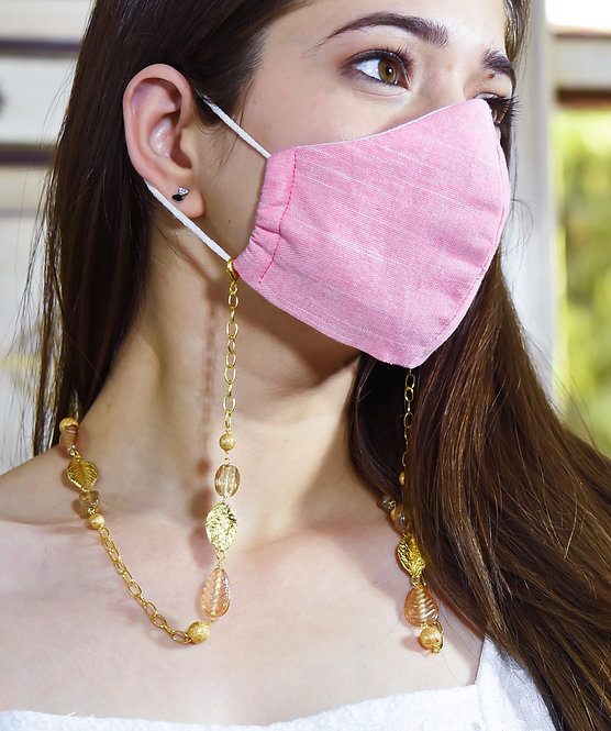 MELANGE Champagne Peach Leaf Necklace/ Mask/Eyeglass Chain