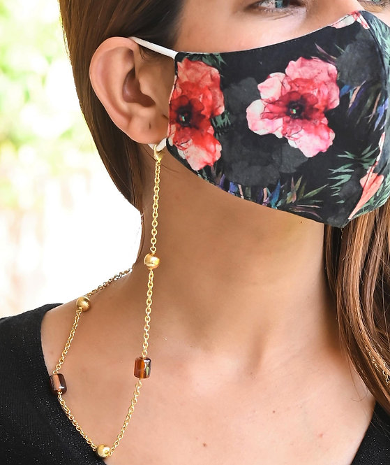 Golden Ball with Coffee Beads Necklace/Mask Chain/Eyeglass Chain