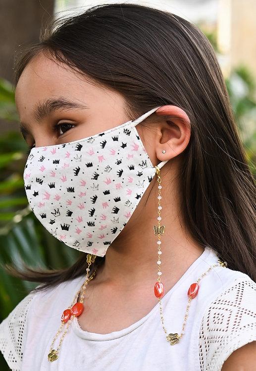 KIDS BUTTERFLY Orange Beads Necklace/Mask/Eyeglass Chain
