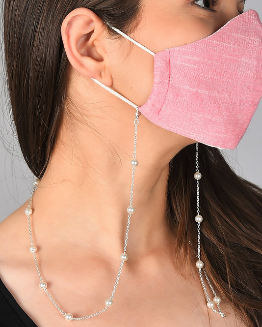 CLASSIC White Pearl Mask/Eyeglass Chain in Silver Tone Necklace