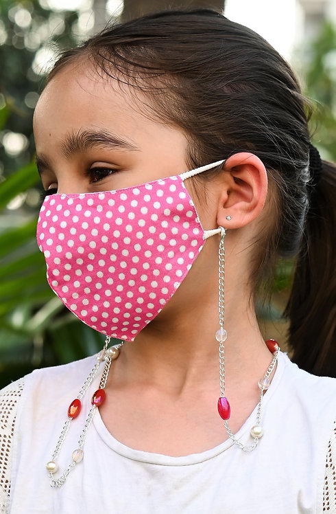 Hot Pink Oval Lustre Beads  Necklace/Mask Chain/Eyeglass Chain -KIDS
