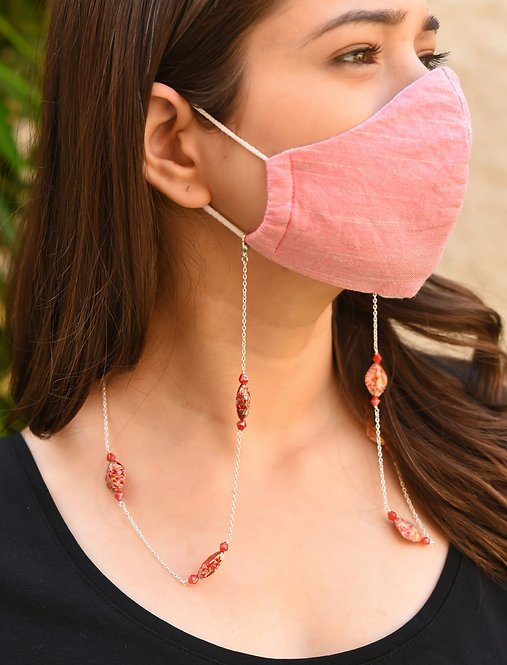PAINT Scarlet, Lustre Pink Beads  Necklace/ Mask Chain/Eyeglass Chain