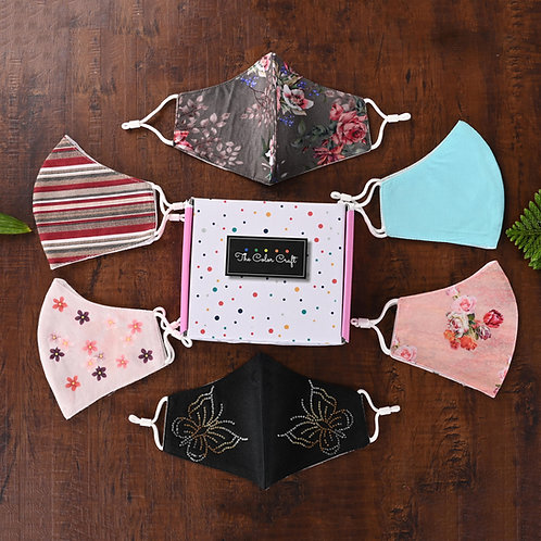 FOREVER Women Mask Gift Set - 6 pieces, 3 Ply Cotton with Adjustable Ear Loops