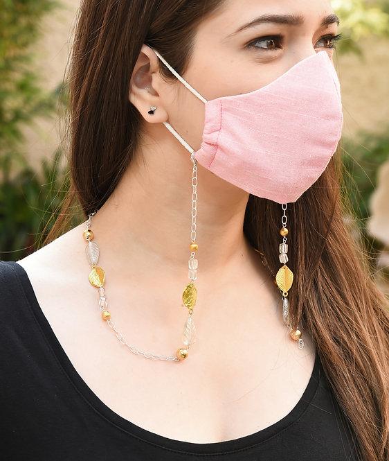 MELANGE  Clear Lustre Leaf Necklace/ Mask/Eyeglass Chain