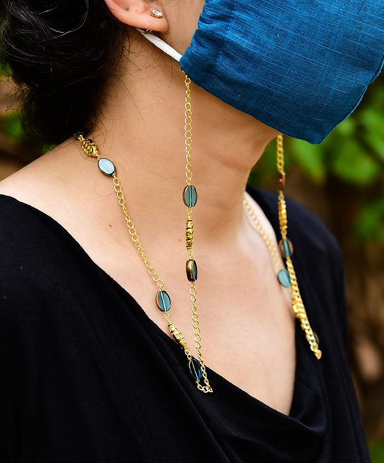 SHEEN Mask/Eyeglass chain with Aqua beads & Gold accents