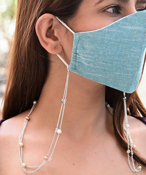 HEERA MOTI DUO  Multi-Pearl SILVER Necklace/Mask Chain/Eyeglass Chain