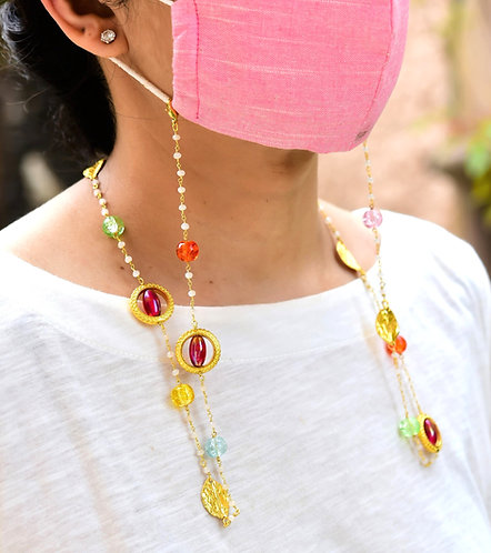 ALIVE Multi- Color Beads Mask Chain/ Eyeglass Chain in gold tone pearl chain