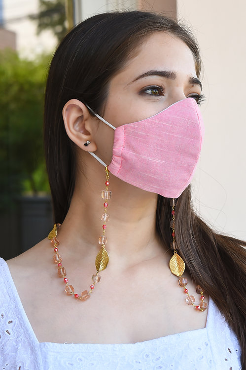 ROSA Statement Mask/Eyeglass Chain with Gold Leaves, Peach &  Pink Beads