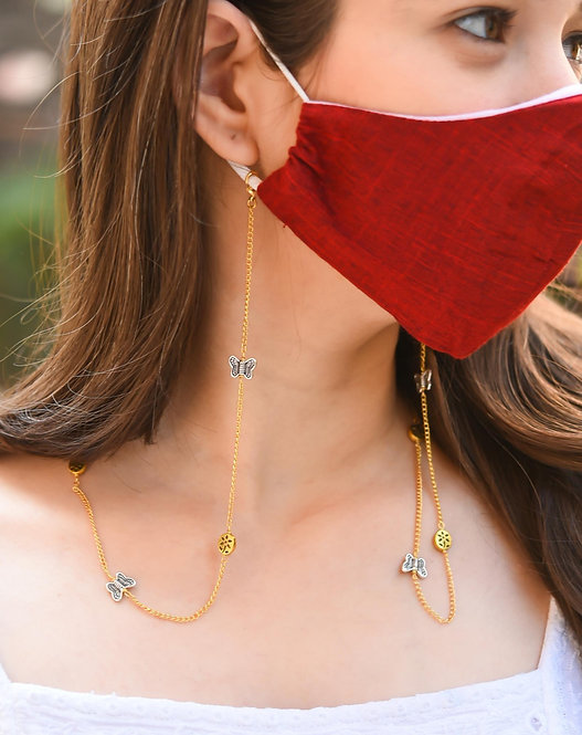 FLOWER Butterfly GOLD Necklace/Mask Chain/Eyeglass Chain