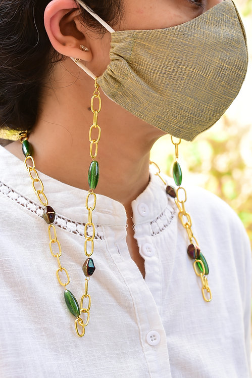 DAPPER Mask/Eyeglass Chain with Lustre Green & Metallic Rainbow Beads