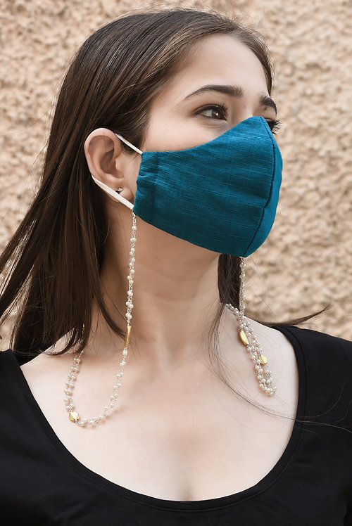 DUO Pearl, Gold Accents Necklace/Mask/Eyeglass Chain