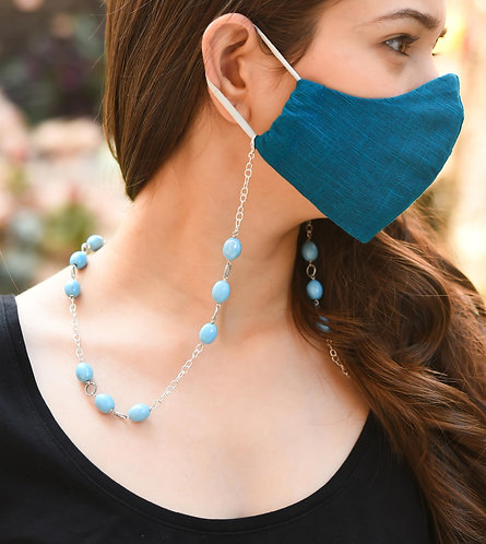 TWIST Turquoise Glass Necklace/Mask/Eyeglass Chain