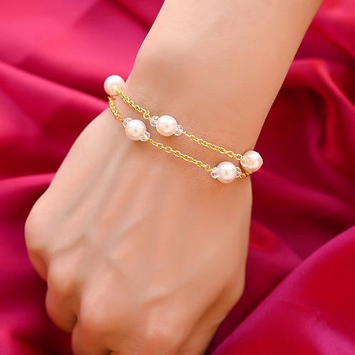 HEERA MOTI Station 2 line  White Pearl in Golden Chain Bracelet