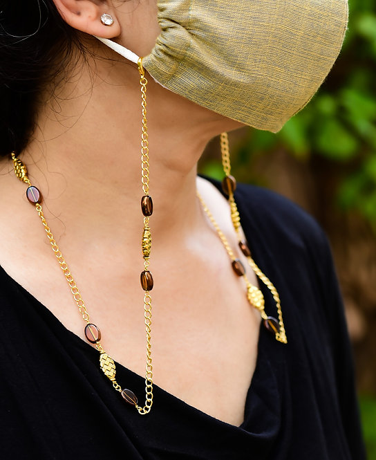 SHEEN Mask/Eyeglass chain with Brown beads & Gold accents