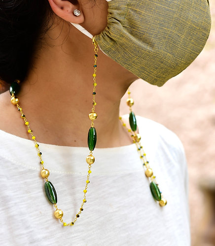 Brush Gold, Shaded Yellow & Lustre Green - Necklace/Mask/Eyeglass chain