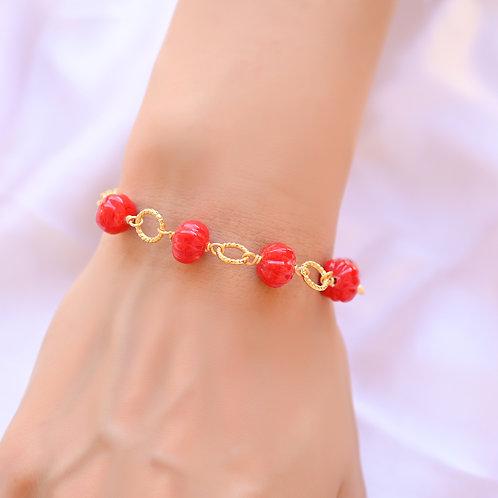TWIST Coral Glass Bracelet