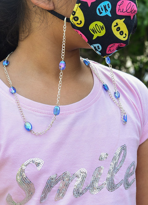 Kids Necklace/Mask Chain/eyeglass with Rainbow Lustre Blue with silverchain
