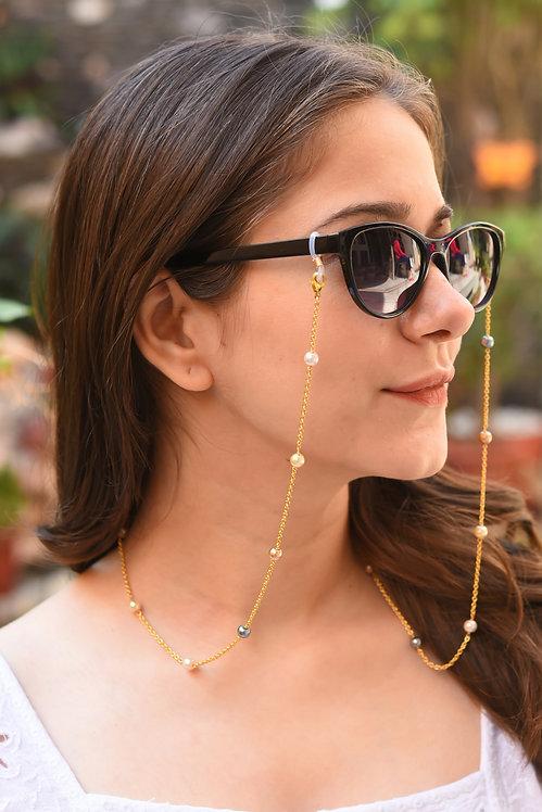 6mm Multi Pearl GOLD tone Mask/Eyeglass Chain