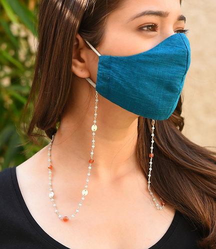 DISC Mask/Eyeglass Chain with Sky Blue & Orange Beads